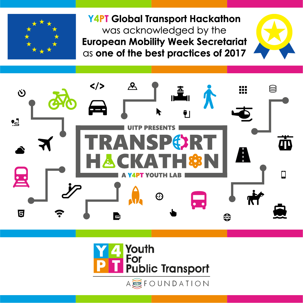 Y4PT Global Transport Hackathon was acknowledged by the European Mobility Week Secretariat as one of the best practices of 2017